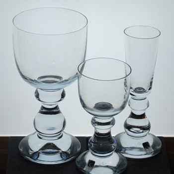 Strombergshyttan goblet, liqueur/sherry and shot glass from late 1970's. - Art Glass