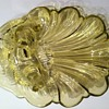 Pressed Glass Seashell Dish with Lady Figure.  Who made it and how old is it?