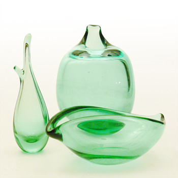 Søgrøn (Sea green) coloured items, Per Lütken (Holmegaard, 1950s) - Art Glass