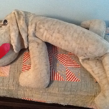 Antique stuff dog with squeaker in the tail, hand sewn circa 1900?