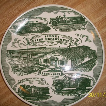 Collectible Plate has Pic of Sidney Fire Department plate was made by kettlesprings kilns allinance ohio - China and Dinnerware