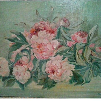 """Peonies"" Oil On Canvas Board / Unframed 18""x 24"" /Signed and Dated/ Circa 1948 (?) - Fine Art"