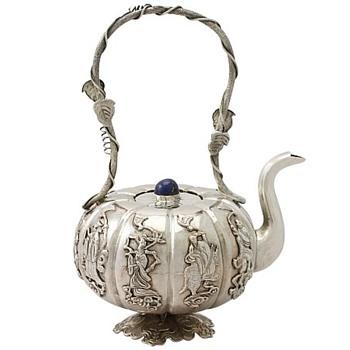 Antique Iraqi Silver Miniature Teapot - Silver