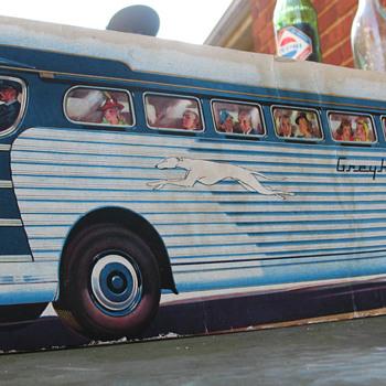 GREYHOUND BUS CARDBOARD STANDUP, 1940-50'S - Advertising