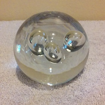 clear glass paperweight with bubbles - Art Glass