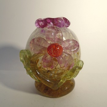 Little Czech art glass vase with applied flower and frilly top -- possibly ZBS - Art Glass