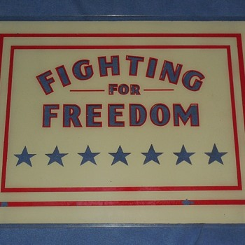 """Pennvernon """" Fighting For Freedom """" reverse painted glass panels"""