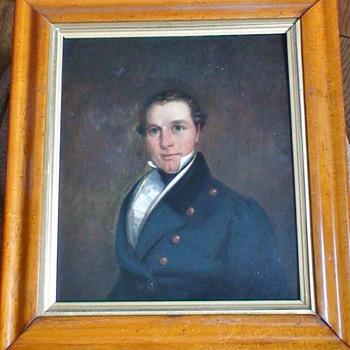 Sea Captain Oil Portrait On Board - Fine Art