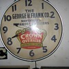 Crown Shrunk Overalls Advertising Clock Maysville Ky
