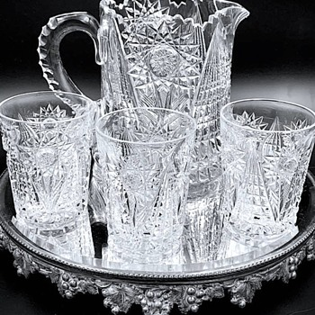 Signed Libbey American Brilliant Cut Glass Pitcher and Tumblers.  Pattern is #47 - Glassware