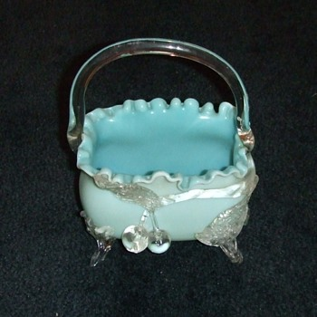 Victorian Art Glass footed Basket with applied Cherries - Art Glass