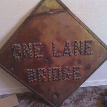 one lane bridge marble sign RARE - Signs