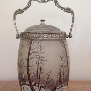 beautiful biscuit jar by Legras' factory - Art Nouveau