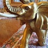 Elephant ceramic? with tusk made of? bone or wood