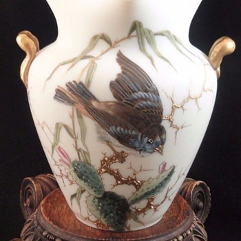 Antique Bohemian Riedel Hand Painted Art Glass Vase with a Cactus Wren - Art Glass