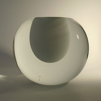 Valner Glass s.r.o. -- massive art glass ball vase with egg-shaped well -- contemporary Czech art glass - Art Glass