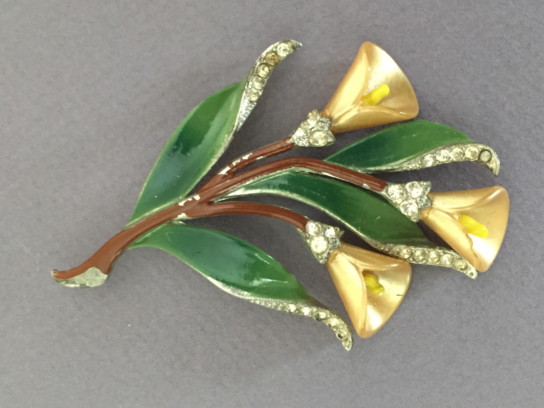 vintage flower brooch flower jewelry lily brooch Calla Lily brooch vintage jewelry black calla lily pin