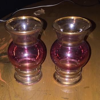 "Pair Vintage 4"" Reddish tint  glasses - Glassware"