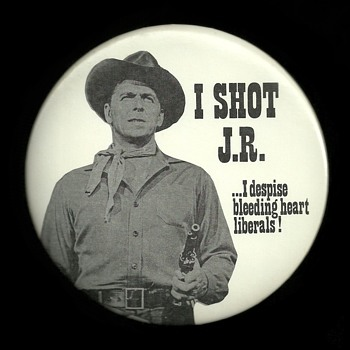 Ronald Reagan I SHOT J.R. Political Pinback Button