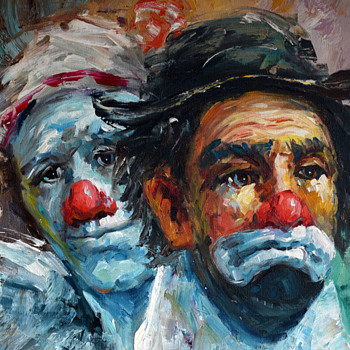 I need help with signature......Oil Painting of Clowns - Fine Art