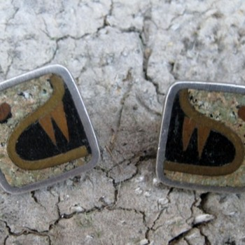 Mayan serpent taxco sterling, copper & brass earrings - Fine Jewelry