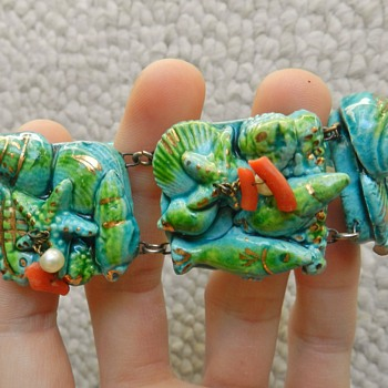 Weird 1960's? Ceramic Tile Bracelet  - Costume Jewelry
