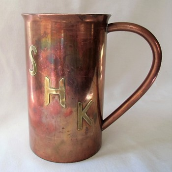 Large Vintage Copper Arts & Craft Tankard Brass Initials No ID - Arts and Crafts