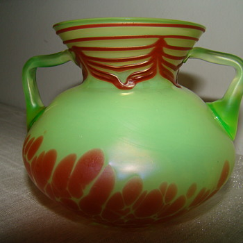 Two-handled vase attributed to PK - Art Glass