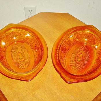 "Amber ""Pressed"" Glass Bowls"