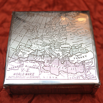 WWII Cigar Box - Sterling Silver - Battlefield Plans - Tobacciana