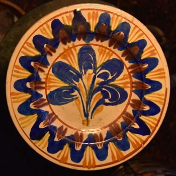 Mexican Pottery Plate with Abstract Tree/Flower Design - Pottery