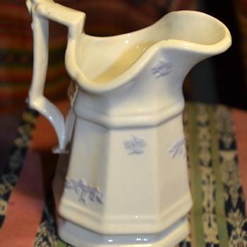 White Porcelain Pitcher with Lavendar Appliques [?] - Pottery