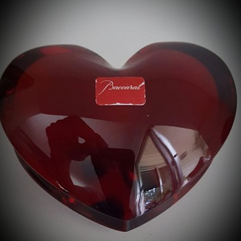 Baccarat Double Red Heart - Art Glass