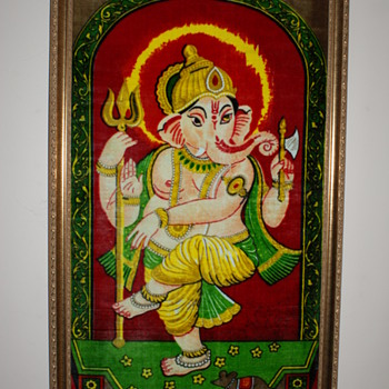 Indian Painted Velvet Image of Ganesh - Fine Art