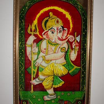 Indian Painted Velvet Image of Ganesh - Fine Art