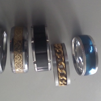 A Few Costume Tungsten Carbide Rings - Costume Jewelry