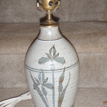 Marked Floral Motif Pottery Table Lamp - Pottery