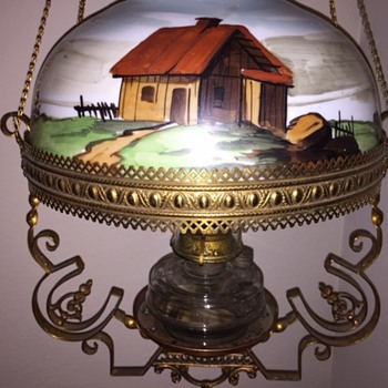 Rare -Antique Horseshoe Western Hanging Oil Lamp - Animals