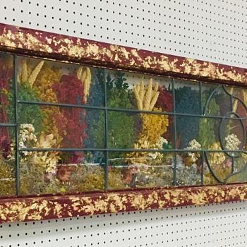 Vintage Shadow Box Framed Window With Dried Wildflowers - Art Glass