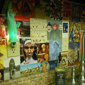 Collect postcards and make a backsplash - Postcards