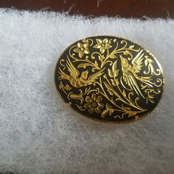 Vintage Damascene Jewelry Brooches/Pins, Earrings, & a Ring (Flowers & Birds)