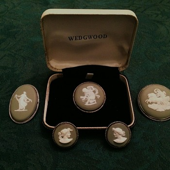 Sage & Silver Wedgwood Pins and Ear Clips