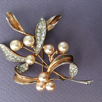 Trifari Sterling Mistletoe Brooch circa 1940s. - Costume Jewelry