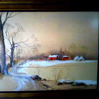 "Fred Leach ""Winter Landscape""/Watercolor on Buff Colored Paper 29""x37"" Framed / Circa late 1960's-1970's - Fine Art"