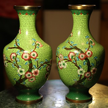 Interesting Green Cloisonne Vases from China - Asian