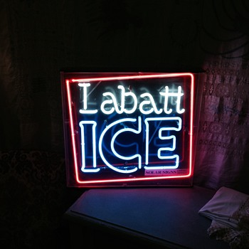 Vintage Brains Labatt Ice Neon and Guiness light up sign - Breweriana