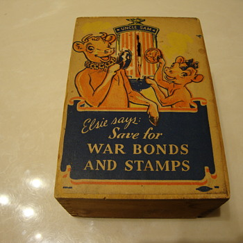 "BORDEN ""ELSIE & BEULAH"" WAR BONDS & STAMPS WOODEN BANK  - Bottles"
