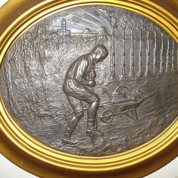 Happy May Day or International Workers Day: two exquisite antique metal plaques