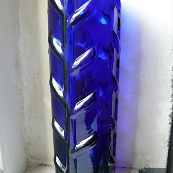 thick walled deep blue glass vase - Art Glass