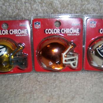 NFl mini color chrome helmets